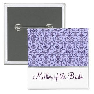 Vintage Florentine Damask (Lilac) (Wedding) Pinback Button
