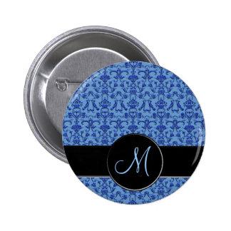 Vintage Florentine Damask (Monogram) (Blue) Button