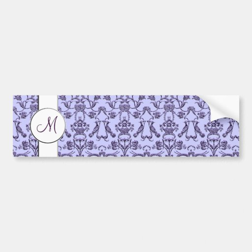 Vintage Florentine Damask (Monogram) (Lilac) Bumper Sticker