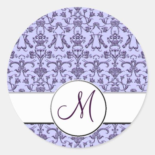 Vintage Florentine Damask (Monogram) (Lilac) Classic Round Sticker