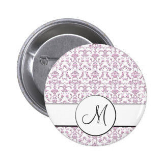 Vintage Florentine Damask (Monogram) (Pink) Pinback Button