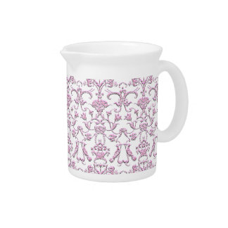 Vintage Florentine Damask (Pink) Beverage Pitchers