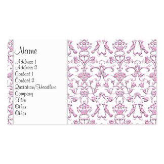 Vintage Florentine Damask (Pink) Double-Sided Standard Business Cards (Pack Of 100)