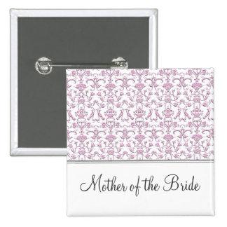 Vintage Florentine Damask (Pink) (Wedding) Pinback Button