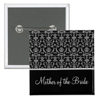 Vintage Florentine Damask (Wedding) (White) Pinback Button