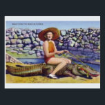 "Vintage Florida Alligator Postcard<br><div class=""desc"">Retro / Vintage Travel post card.  Beauty and the Beast in Florida.  Woman riding an alligator!</div>"