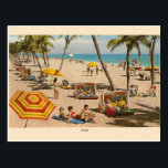 "Vintage Florida Beach Travel Post Card<br><div class=""desc"">Retro / Vintage Travel post card.  A day at the beach in Florida!  Wonderful vintage image of Florida sunbathers!</div>"