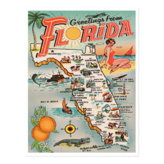 Vintage Florida map Greetings from Florida Postcard