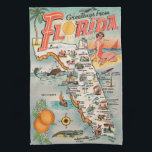 "Vintage Florida map of attractions Kitchen Towel<br><div class=""desc"">Vintage Florida map of tourist attractions is cool retro kitsch as well as being a historical look into old Florida. Shows major cities and icons include beach,  palm tree,  oranges,  alligator,  sailboat,  etc.</div>"