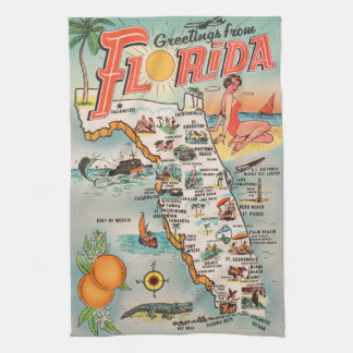 Vintage Florida map of attractions Kitchen Towel