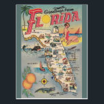 "Vintage Florida Map Post Card<br><div class=""desc"">Retro / Vintage Travel postcard.  Greetings from Florida!</div>"