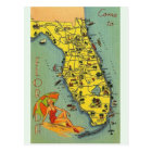 Vintage Florida Map Post Card