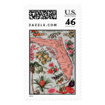 Vintage Florida Map Postage Stamps