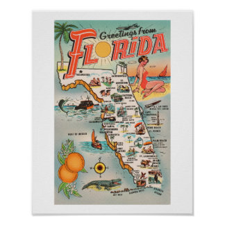 Vintage Florida map Poster