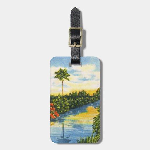 Vintage Florida Palm Tree Sunset Luggage Tag