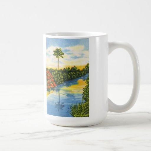 Vintage Florida Palm Tree Sunset Postcard Mug