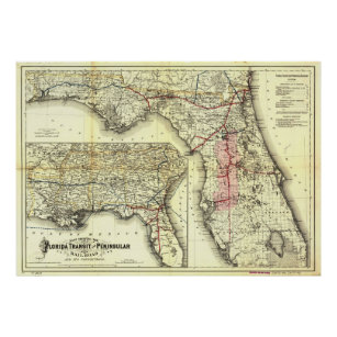 Florida Railroad Map.Florida Railroad Map Art Wall Decor Zazzle