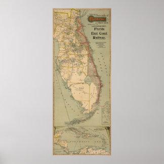 Vintage Florida Railway Map (1896) Poster