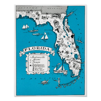 Vintage Florida State Map Coastal Wall Decor Poster