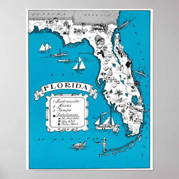 Vintage Florida State Map Coastal Wall Decor Poster Zazzle
