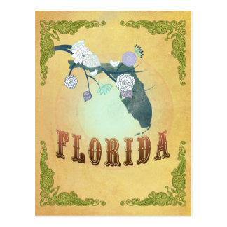 Vintage Florida State Map- Passion Fruit Yellow Postcard