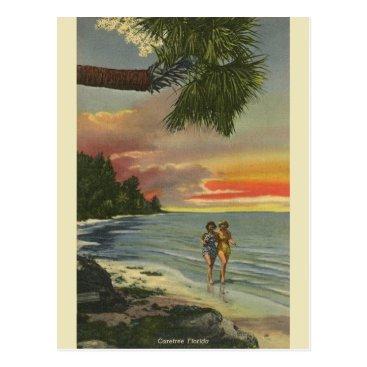 Beach Themed Vintage Florida Sunset Post Card