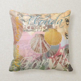 Vintage Florida Travel Beach Shells Collage Throw Pillows