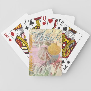 Beach Themed Vintage Florida Travel Beach Shells Collage Playing Cards