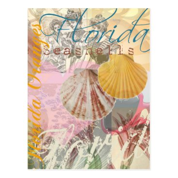 Beach Themed Vintage Florida Travel Beach Shells Collage Postcard