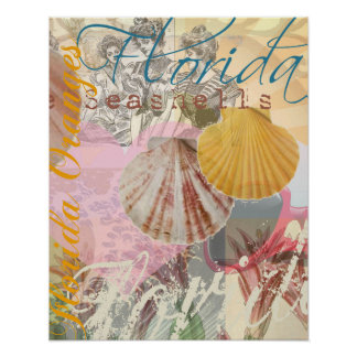 Vintage Florida Travel Beach Shells Collage Poster