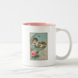 Vintage Florida Water Ad with Cherub 1888 Two-Tone Coffee Mug