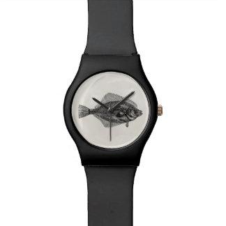 Vintage Flounder Fish Aquatic Fishes Template Wristwatch