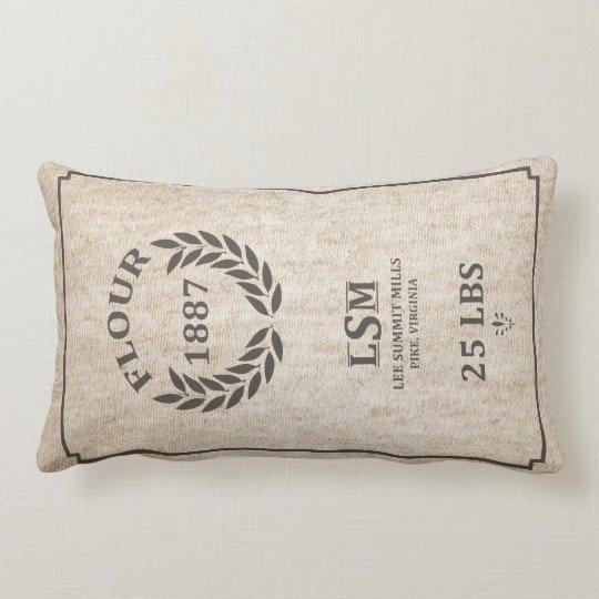 Vintage Flour Sack Lumbar Pillow