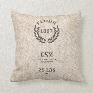 Vintage Flour Sack Throw Pillow