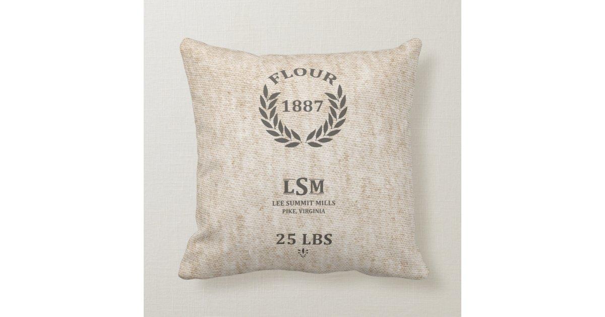 Flour Sack Pillow Cases Vintage Flour Sack Throw Pillow