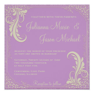 """Vintage Flourish African Violet Purple Invitation 5.25"""" Square Invitation Card"""