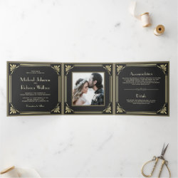 Vintage Flourish Art Deco Photo Wedding Tri-Fold Invitation