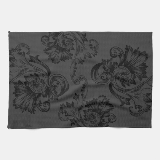Vintage Flourish (Black) Hand Towel