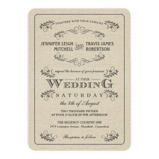 Vintage Flourish Burlap Wedding Invitations
