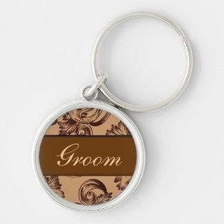 Vintage Flourish (Dark Brown) Silver-Colored Round Keychain