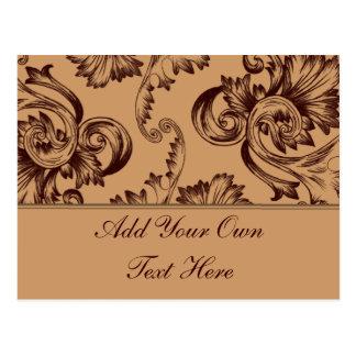 Vintage Flourish (Dark Brown) Postcard
