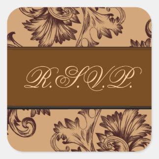 Vintage Flourish (Dark Brown) Square Sticker