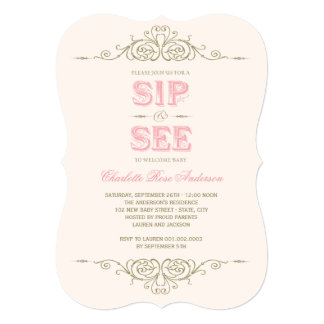 Vintage Flourish Elegant New Baby Girl Sip And See Card