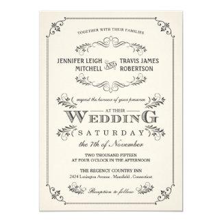 Vintage Flourish Elegant White Wedding Invitations