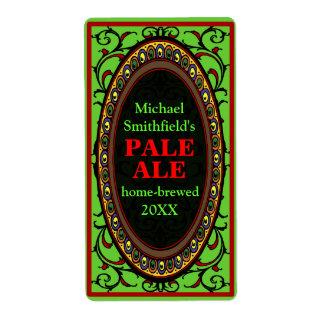 Vintage Flourish Homebrew Beer Labels Green