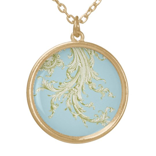 Vintage Flourish in green Gold Plated Necklace