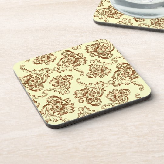 Vintage Flourish (Light Brown) Drink Coaster