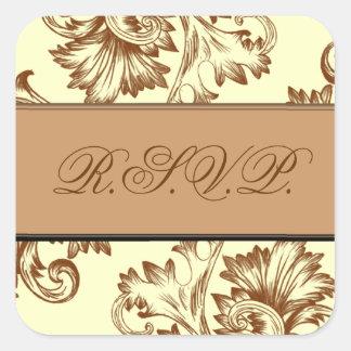 Vintage Flourish (Light Brown) Square Sticker