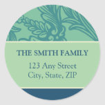 Vintage Flourish Mint/Teal Return Address Sticker