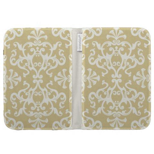 Vintage Flourish Motif Pattern Cream Kindle Case